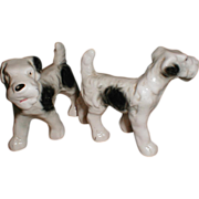 Cute Pair of Ceramic Dogs, Scotties, Japan