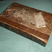 """REDUCED Small Book, Leather Binding, Marbled Back, """"Republic of Letters"""" Whitelaw 18"""