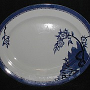 Large Blue Printed Platter, HAMPTON, Burleigh Ware England