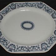 Lovely Blue Printed Octagonal Platter, Brown-WestHead, Moore CA 1884