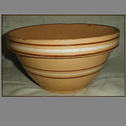 Vintage Large Yelloware Mixing Bowl, Ovenware # 9, Brown Stripes