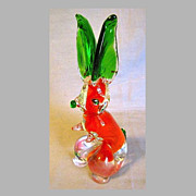 Vintage Art Glass Rabbit, Funky Colors of Green and Orange