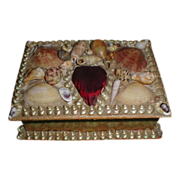 SALE Lovely CA 1900 Shellwork Sewing Box, Heart Pin Cushion