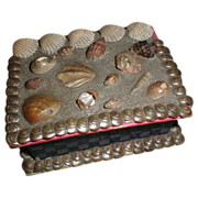 SALE Lovely Small Victorian Shell Work Trinket Box