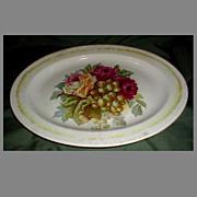 Large White Ironstone Platter, Roses & Grapes