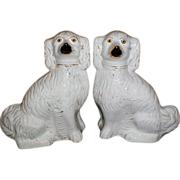 Huge Pair of 19th Century Staffordshire Spaniels (Dogs)