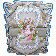 Lovely 3-Dimensional Victorian Valentine Card, Die-Cut