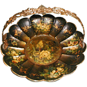 Lovely Victorian Papier Mache Scalloped Basket w/ Roses