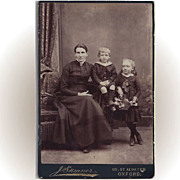 SALE Victorian Cabinet Photograph Card of Mother and Two Children
