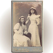 SALE Carte-de-Visite Photograph, Two Girls in Confirmation Dress