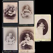 SALE Group of 5 Carte-de-Visite Photograph Cards, Babies