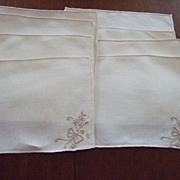 Set Of Eight Hand Embroidered Linen Cocktail Napkins