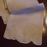 "Hand Embroidered Damask Linen Towel With Hand Embroidered ""M"""