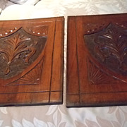 English Mahogany Carved Plaque Pair C:1880