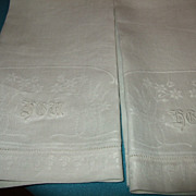 """Pair Of Huck Damask Linen Towels With Hand Embroidered """"HGM"""" C:1950 (5 Prs. Availabl"""