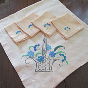 SALE Linen Table Overlay With 4 Napkins Plus 4 Extra Napkins(See all pics)