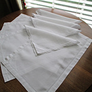 Vintage Hemstitched Set of Four Each Linen Mats & Napkins
