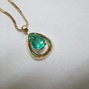 "SALE 14K Yellow Gold/Emerald Pendant With 20"" 14K Chain"