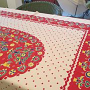 """Vintage Cotton Colorful 52 x 60"""" Tablecloth"""