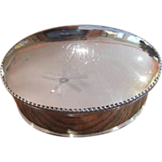 SALE English Silver on Copper Oval Biscuit Box C:1897