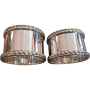 SOLD Pr. English Silver Plated  Gadroon Border Napkin Rings