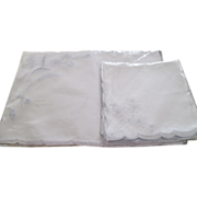 SALE Set Of Blue/White Madeira Mats & Napkins C:1940