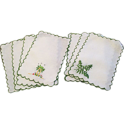 Vintage Set Of  8 Madeira Cocktail Napkins