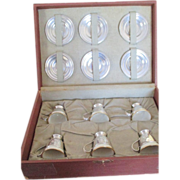"SALE Boxed Set Of Sterling Demitasse Cups Ans Saucers ""K"""