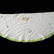 "41"" Madeira Round/Overlay Handkerchief Linen Cloth  C:1950"