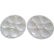 Pr  Vintage Crown Devon Cream  Ceramic Oyster Plates