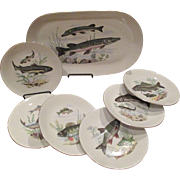 Kahla 7 Piece Porcelain Fish Set C:1950