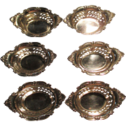 """Set Of 6 Sterling Nut Dishes """"Cromwell/Strasbourg"""" By Gorham C:1928"""