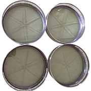 Set Of 4 Sterling Rimmed Coasters C:1950