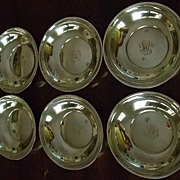 SALE Set Of Six Sterling Bowls With Hand Engraved Monogram