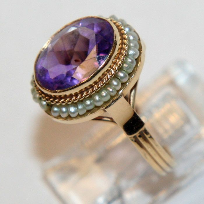 antique 14k gold pearl amethyst ring from