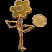 """Vintage Shoulder Pin Brooch Signed """"MR WE"""" Resin Flower"""