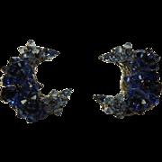 Vintage EUGENE Signed Cobalt Blue Art Glass Crescent Earrings