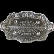 Vintage Depression Glass 3-Part Celery Dish Floral Etched Pattern