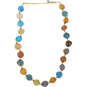 Vintage Multi-Colored Art Bead Necklace