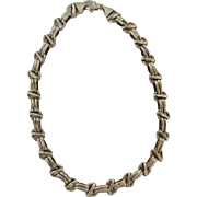 "17"" Silver Woven Link Choker Necklace"