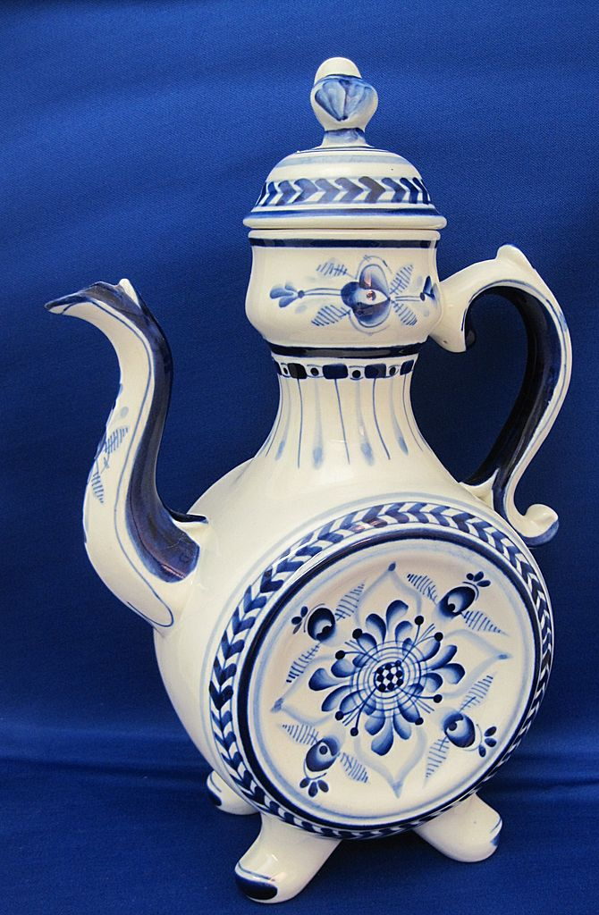 Gzhel Russian Fine Porcelain Large Blue And White Hand