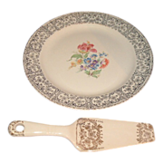 Homer Laughlin Eggshell Nautilus Plate and Cake Lifter/Pie Server