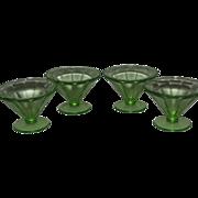 Green Optic Panel Federal Glass Co. - Set of 4 - Sherbert Glass