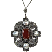 Antique Victorian 900 Silver Carnelian Mabe Pearl Necklace