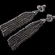 Antique Victorian Cut Steel Bead Tassel Earrings