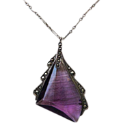 Art Deco Sterling Marcasite Amethyst Glass Necklace