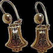 Victorian 10K Gold Taille d' Epargne Enamel Earrings