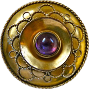 Large Victorian Etruscan Revival Gold Filled Amethyst Brooch Pin