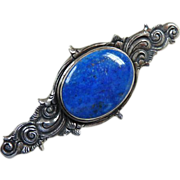 Antique Victorian Sterling Silver Lapis Lazuli Pin Brooch