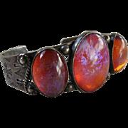 Native American Fred Harvey Era Dragon's Breath Sterling Silver Cuff Bracelet